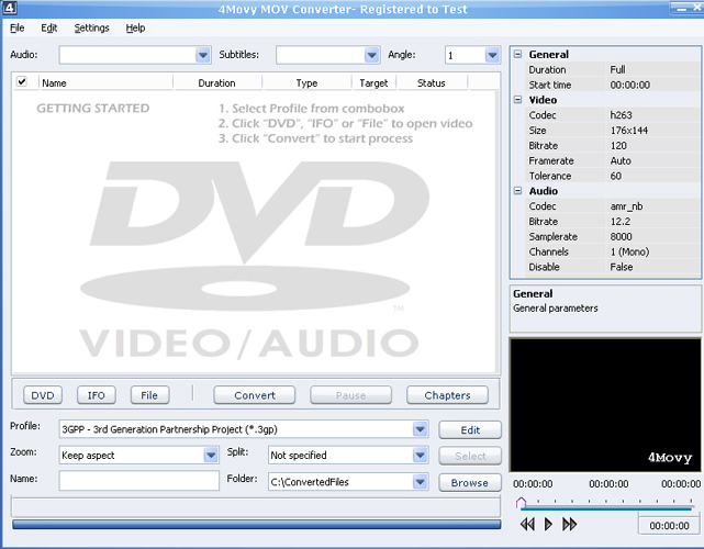 Click to view 4Movy MOV Converter 4.1 screenshot